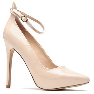 Pointy Nude Patent Ankle Strap Heels